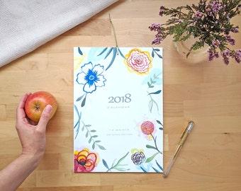 Calendario 2018. Calendario floral de pared 2018, idea de regalo para año nuevo.