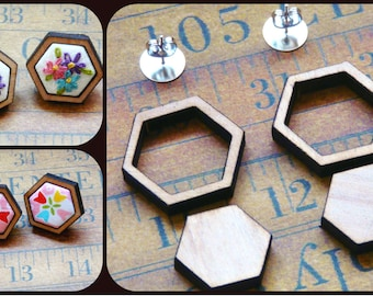3 Mini wood Hexagon Earring Blanks sets - wood Craft Supply Jewelry hexies ear ring