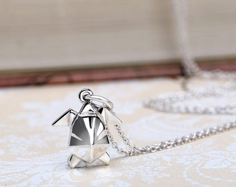 Dainty Origami Turtle Silver Necklace | Sterling Silver Turtle Charm Necklace | Origami Turtle Pendant Animal Jewelry