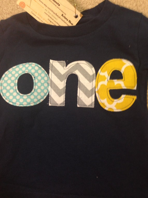 One First Birthday Shirt, Boys 1st birthday shirt yellow quattrefoil teal dots gray chevron