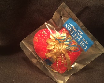Vintage Avon Gift Collection Holiday Dazzle Ornaments Heart NEW Rare
