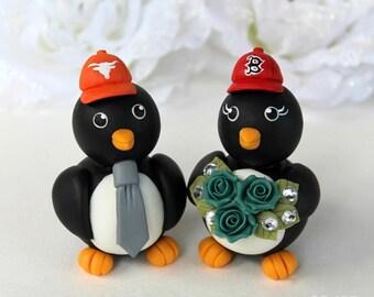 Baseball wedding cake topper, sport wedding, penguin custom cake topper, bride and groom figurines with banner