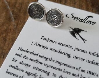 Swallow Wax Seal Earrings - Always Wandering Love and Loyalty - 152EAR