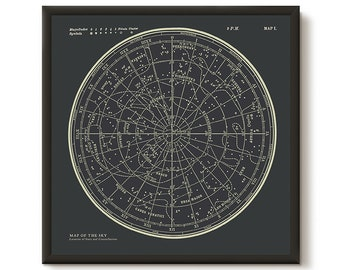 Star Map Constellations Framed Poster. Ready to Hang Print. Map of the Sky. Vintage Modern Astronomy Print. Black Celestial Map Wall Art.