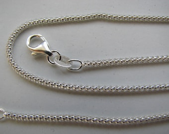 18 inch Sterling Silver 2mm Popcorn Chain with Lobster Clasp