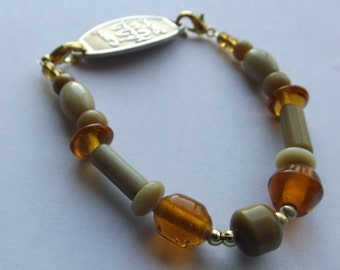 Amber and Tan Medical ID Extension Bracelet. Bracelet, or Interchangeable Watch Band