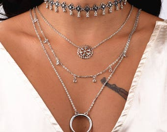 Silver necklace 4 piece necklace choker set layered necklace chain lengths necklace latest trend necklace