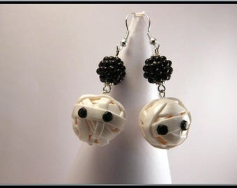 Stud Earrings in polymer clay Halloween Mummy head.