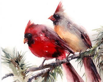 Northern cardinal birds couple fine art print, watercolor painting of cardinal bird, bird painting, red bird, wall art, bird illustration