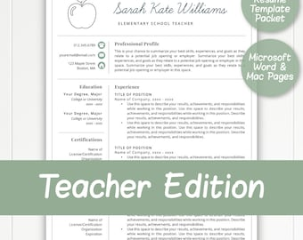 2 Page Teacher Resume Template for Word & Pages, Teacher Template, Resume for Teacher, Elementary Template, Teacher Instant Download