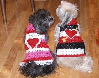 BE MY VALENTINE - dog sweater with lace - 2 to 20 lb dogs - Made to order