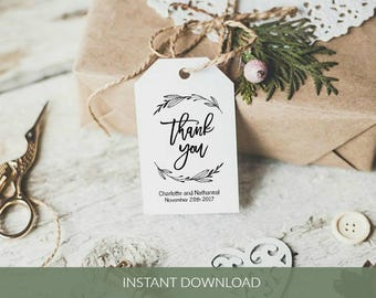 Wedding, Favor Tag Printable, Thank you Favor Tag Template, Wreath Editable Gift Tags, Instant Download PDF, WLP426