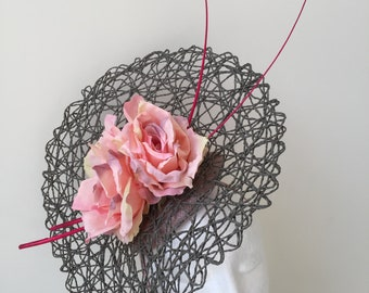 Stunning NEW grey basket weave fascinator with pink flowers on a headband.