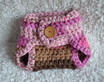 Crocheted Baby Girls Diaper Cover Photo Prop Pink Brown Button 0-3 Months MADE TO ORDER