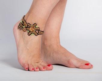 Black and Gold Anklet