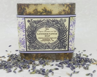 Organic Lavender Flower Soap - Lavender Essential Oil and Petals - Gently Exfoliating , Moisturizing Aromatherapy Bar - All Skin Types