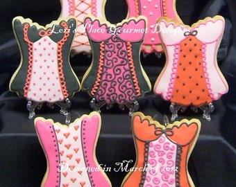 CORSET  Cookies - Bachelorette Cookie Favors - 12 Cookies