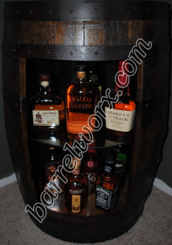 Whiskey Barrel Display Liquor Cabinet With Glass Shelf Amp Lazy
