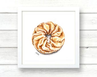 donut print of watercolor painting, donut illustration