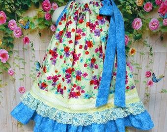 Girl Dress 2T/3T Yellow Blue Flower Garden Pillowcase Dress, Pillow Case Dress, Sundress, Boutique Dress