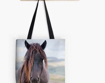 Horse tote bag, autumn clours, photo bag, tote bag, chocolate brown, brown, rustic, shopping bag, equine photo