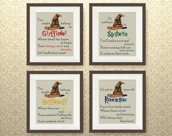 SET, Sorting Hat's Song cross stitch pattern, Harry Potter cross stitch, Gryffindor, Slytherin, Hufflepuff, Ravenclaw cross stitch, #P261
