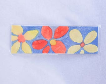 Three Flower Watercolor Painted Bookmark Unique One of a Kind Gifts for Bookworms Friends Floral Flowers Dainty Daisies Daisy Blue Yellow