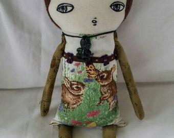 Pom pom hair Art doll