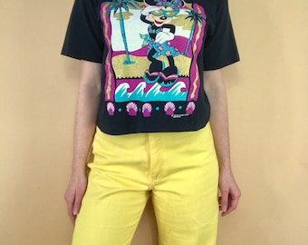 Vintage 1980s Minnie Mouse cropped shirt Walt Disney retro 80s 90s Mickey Mouse boxy crop top glittery gold tropical beach 1990s t-shirt M/L