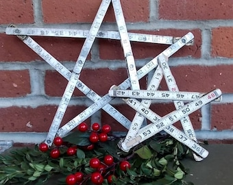 Decorative Stars Handmade from Vintage Folding Carpenters Rulers Rustic Country Chic Home Decor