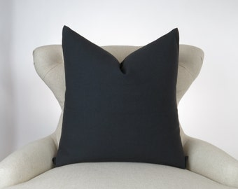 Solid Black Pillow Cover -MANY SIZES- Decorative Throw Pillow, Cushion Cover, Euro Sham, Dyed Solid Black Premier Prints