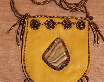 Beaded Leather Medicine Bag