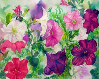 "Petunias, Colorful, Floral, Flowers, Summer, Pinks, Purples, Nature,  High-Quality Watercolor Giclee Print 14 3/4""x 20""by Janet Dosenberry"