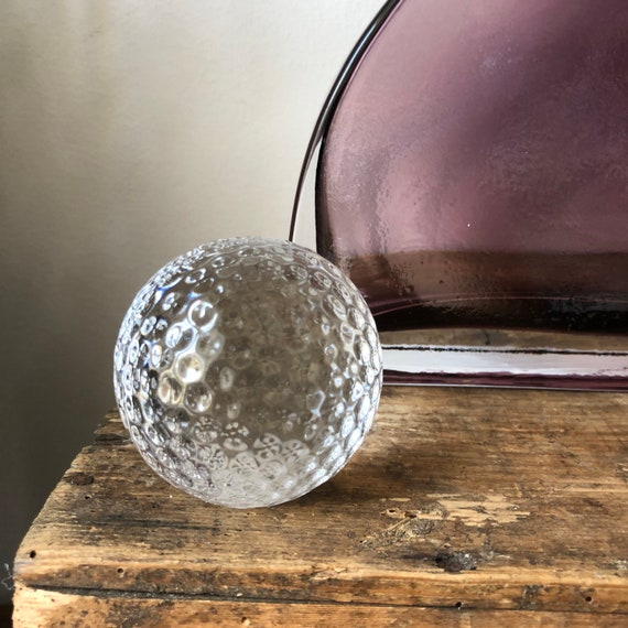 Scandinavian crystal golf ball paper weight modern figurine Scandinavian 1980s shelfie
