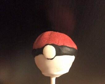 Pokemon Inspired Poke Ball Cake Pop- Pokemon-kids birthday- birthday favors- pokemon birthday- boys birthday-Gluten Free Also- Customizable