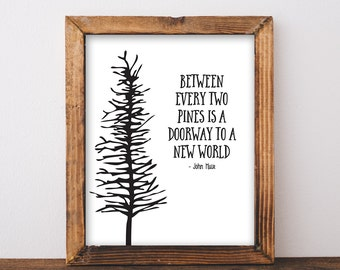 Between Every Two Pines - John Muir Quote - Hiking Quote - Camping Print - Camping Decor - Hiker - Outdoorsy Decor - Instant Download 8x10