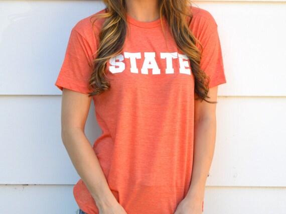 Gameday State Tee Shirt: Heather Orange and White
