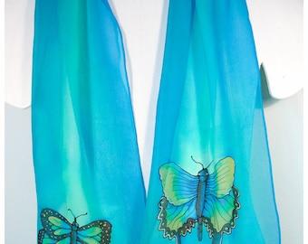 "SALE. Butterfly silk scarf. 11x59"" silk chiffon~Hand painted silk scarf~Monarch butterfly scarf~Hand painted silk scarves~Painted silk scarf"