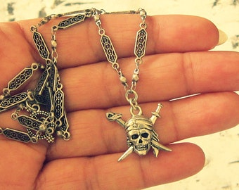 Silver Skull And Crossbones Necklace, Silver Skull And Crossbones Jewelry, Silver Pirate Jewelry, Silver Pirate Necklace, Unique Pirate Gift