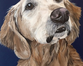 Golden retriever art print from original painting