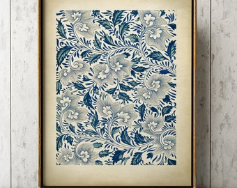CHINESE GRAPHIC ART Print, Elegant Blue Floral Chinese Design Poster, Chinese Drawing, Exotic Art, Floral Pattern, Floral Art