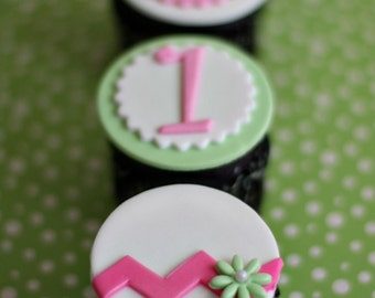 Fondant Chevron, Monogram, Age and Cupcake Toppers for Cupcakes or Cookies Perfect for Birthday Parties
