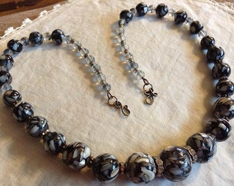 Graduated  Black and Gray Composite MOP Bead Necklace