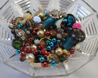 Jar of Misc beads, old jewelry pieces