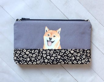Shiba Inu Cotton Fabric Pouch, Dog Pencil Case, Dog Lover Gift, Cosmetic Pouch, Dog Birthday Gift, Sanitary Case, Zipper Pouch