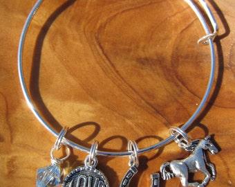 I LOVE HORSEBACK RIDING -  Adjustable Bangle Bracelet - Horseshoe, Good Luck, Love-  Choose any swarovski crystal color