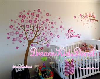 Cherry Tree decal, name wall decal, vinyl wall decals, nature nursery wall stickers, tree owls decal, nursery wall stickers-DK196