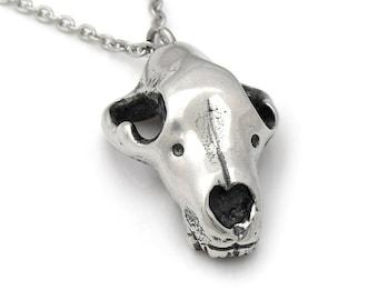 Swedish Bear Skull Necklace, Animal Cranium Pendant in Polished Pewter