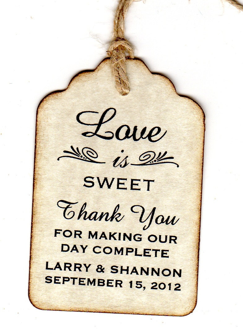 50 Wedding Tags Thank You Party Favor Tags Place Card Escort