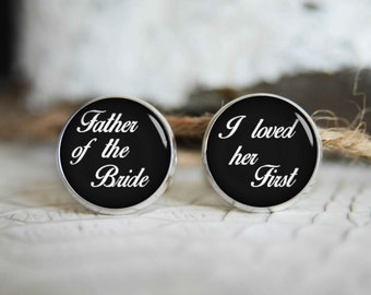 Father of the bride personalized cufflinks, cool gifts for men, custom wedding silver plated or black cuff link NF01